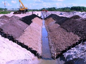 Geocell in canal lining